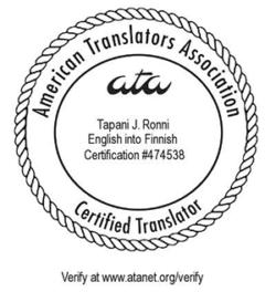 Tapani J Ronni | ATA Certification